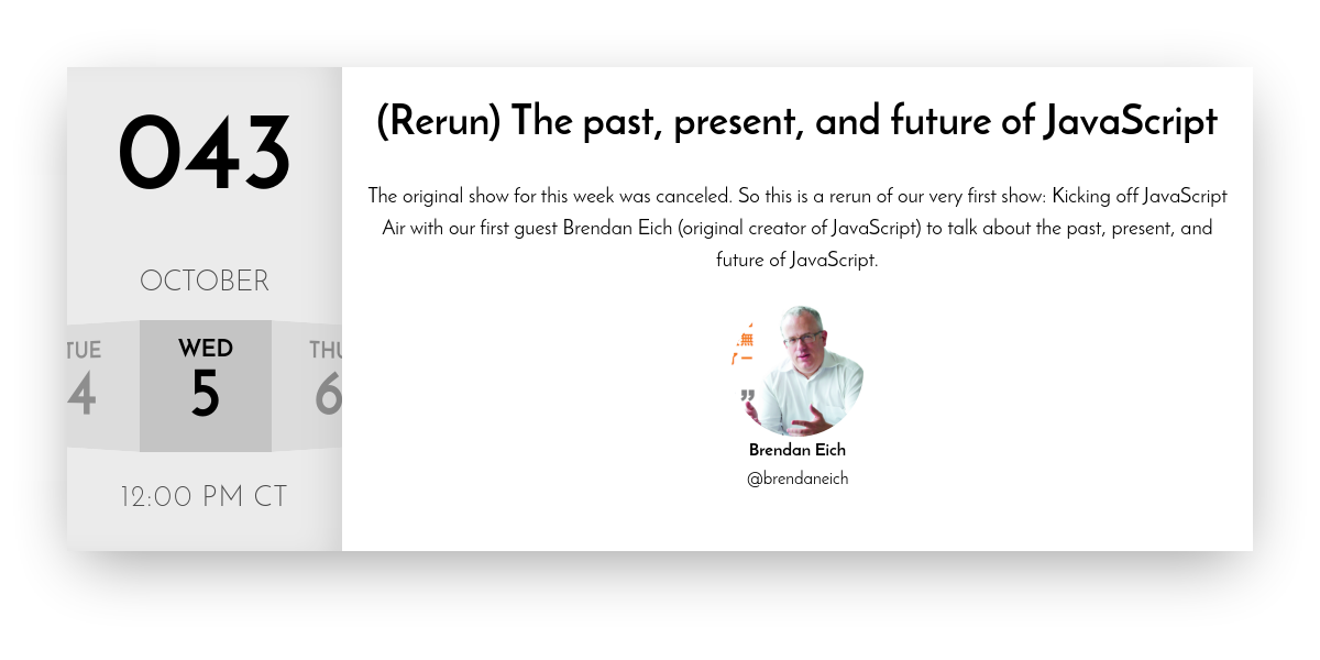 JavaScript Air | (Rerun) The past, present, and future of